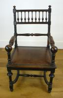 Charming Victorian Oak Throne Armchair (3 of 15)