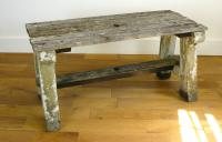Delightfully Aged 1930s Concrete & Wood Garden Bench Table (5 of 8)