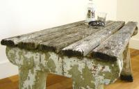 Delightfully Aged 1930s Concrete & Wood Garden Bench Table (3 of 8)