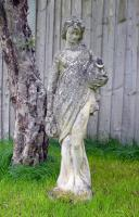 Attractively Aged Garden Statue Maiden with Wine Jugs (8 of 9)