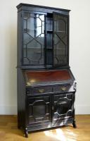 Late Victorian Ebonised Chippendale Revival Bookcase Bureau (13 of 14)