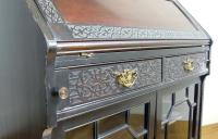 Late Victorian Ebonised Chippendale Revival Bookcase Bureau (6 of 14)