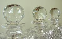 Set of 3 English Cut Glass Spirit Decanters c.1915 (5 of 10)