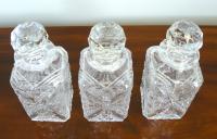 Set of 3 English Cut Glass Spirit Decanters c.1915 (2 of 10)