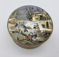Antique Small Prattware Pot Lid 'Dangerous' c.1850