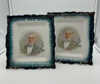 Pair of Antique Porcelain Plaques William Gladstone c.1870