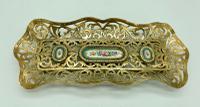 Antique French Brass & Sevres Porcelain Pen Tray c.1850