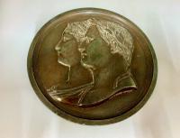 Antique French Empire Cast Lead Bronzed Plaque Napoleon Bonaparte c.1810