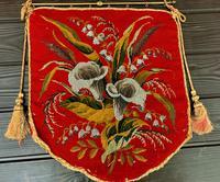 19th Century Wool & Bead Work Banner c.1850