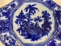 Antique Adams Flow Blue Pottery Tea Pot Stand c.1890 (5 of 5)