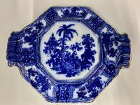 Antique Adams Flow Blue Pottery Tea Pot Stand c.1890 (4 of 5)