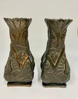 Pair of Oriental Art Nouveau Patinated Metal Vases c.1900 (5 of 8)