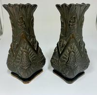 Pair of Oriental Art Nouveau Patinated Metal Vases c.1900 (2 of 8)