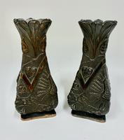 Pair of Oriental Art Nouveau Patinated Metal Vases c.1900 (8 of 8)