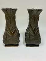 Pair of Oriental Art Nouveau Patinated Metal Vases c.1900 (7 of 8)