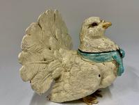 Edwardian Fan Tail Pigeon Metal  Inkwell circa 1910 (7 of 8)