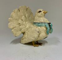 Edwardian Fan Tail Pigeon Metal  Inkwell circa 1910 (5 of 8)