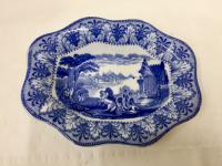 Antique Cauldon Pottery Blue & White Transfer Print Dish c.1910