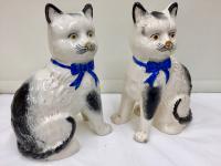 Antique Pair of Scottish Pottery Cat Figurines c.1875 (3 of 4)