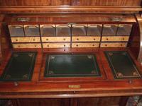 19th Century Mahogany Cylinder Bureau Bookcase (4 of 5)
