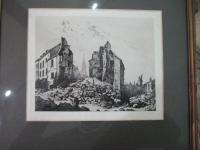 H. A. Saffrey:  Etching of St Cloud After the Siege of Paris 1871
