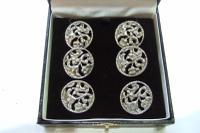 Set of 6 Victorian Art Nouveau Silver Buttons 1895