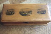 Mauchline Ware Glove or Jewellery Box with Original Lining & Scenes of Worthing, Sussex