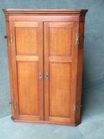 Oak & Mahogany 2 Door Hanging Corner Cupboard C.1800