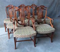 Set of 6 + 2 Mahogany Hepplewhite Style Shield Back Chairs c.1900