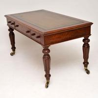Large Antique William IV Mahogany Leather Top Writing Table / Desk (11 of 11)