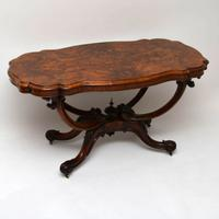 Antique Victorian Burr Walnut Centre Table (2 of 10)