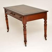 Antique Mahogany Leather Top Writing Desk (7 of 10)