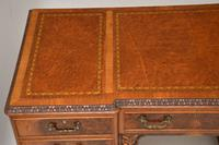 Antique Burr Walnut Leather Top Desk (9 of 12)