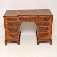 Antique Burr Walnut Leather Top Desk (3 of 12)