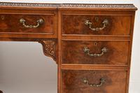 Antique Burr Walnut Leather Top Desk (4 of 12)