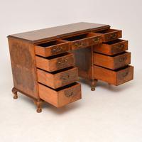 Antique Burr Walnut Leather Top Desk (6 of 12)