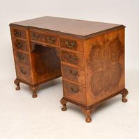 Antique Burr Walnut Leather Top Desk (8 of 12)