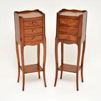 Pair of Antique French Inlaid Kingwood Bedside Tables