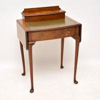 Antique Edwardian Walnut Leather Top Writing Table