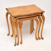 Queen Anne Style Walnut Nest of Tables c.1930 (4 of 8)