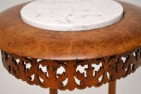 Antique Victorian Burr Walnut & Marble Side Table (9 of 9)