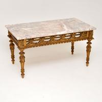 Antique French Giltwood Marble Top Coffee Table