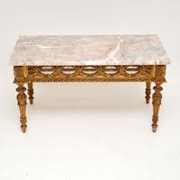 Antique French Giltwood Marble Top Coffee Table (2 of 9)