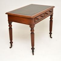 Antique Victorian Mahogany & Leather Writing Table / Desk (9 of 10)
