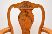 Queen Anne Style Burr Walnut Dining Table & 8 Chairs c.1930 (2 of 14)