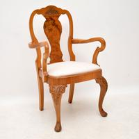 Queen Anne Style Burr Walnut Dining Table & 8 Chairs c.1930 (7 of 14)