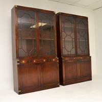 Pair of Antique Military Campaign Style Mahogany Bookcase (10 of 10)