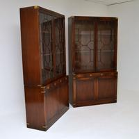 Pair of Antique Military Campaign Style Mahogany Bookcase (6 of 10)