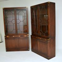 Pair of Antique Military Campaign Style Mahogany Bookcase (5 of 10)