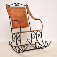 Wrought Iron & Leather Rocking Chair (11 of 12)
